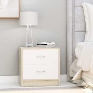 Mesa de cabeceira 40x30x40 cm contrap. branco e carvalho sonoma - PORTES GRÁTIS