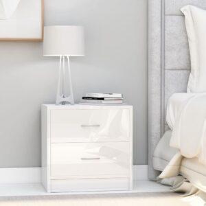 Mesa de cabeceira 40x30x40 cm contraplacado branco brilhante - PORTES GRÁTIS