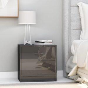 Mesa de cabeceira 40x30x40 cm contraplacado cinzento brilhante - PORTES GRÁTIS