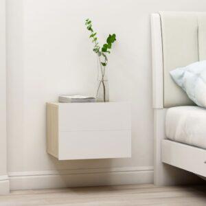 Mesa de cabeceira 40x30x30 cm contrap. branco e carvalho sonoma - PORTES GRÁTIS