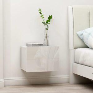 Mesa de cabeceira 40x30x30 cm contraplacado branco brilhante - PORTES GRÁTIS