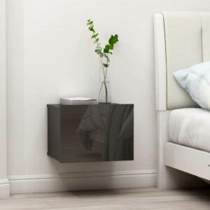 Mesa de cabeceira 40x30x30 cm contraplacado cinzento brilhante - PORTES GRÁTIS