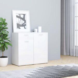 Aparador 80x36x75 cm contraplacado branco brilhante - PORTES GRÁTIS