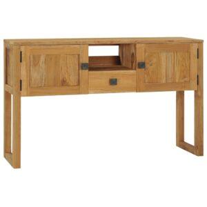Mesa consola 120x32x75 cm madeira de teca maciça - PORTES GRÁTIS