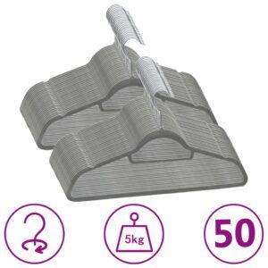 50 pcs conjunto de cabides antiderrapantes veludo cinzento - PORTES GRÁTIS