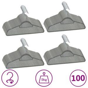 100 pcs conjunto de cabides antiderrapantes veludo cinzento - PORTES GRÁTIS