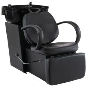 Cadeira de salão/cabeleireiro com lavatório couro artificial preto - PORTES GRÁTIS
