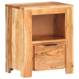 Mesa de cabeceira 40x30x50 cm madeira de acácia maciça - PORTES GRÁTIS