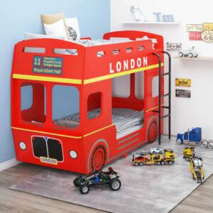 Beliche autocarro londrino 90x200 cm MDF vermelho - PORTES GRÁTIS