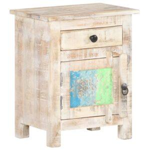 Mesa de cabeceira 40x30x50 cm madeira de acácia áspera - PORTES GRÁTIS