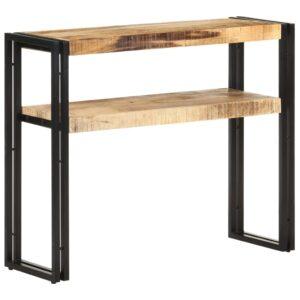 Mesa consola 90x30x75 cm madeira de mangueira áspera - PORTES GRÁTIS