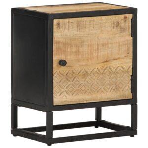 Mesa cabeceira c/ porta esculpida 40x30x50 cm mangueira áspera - PORTES GRÁTIS