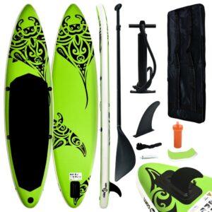Conjunto prancha de paddle SUP insuflável 366x76x15 cm verde - PORTES GRÁTIS