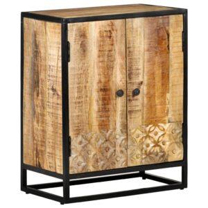 Aparador esculpido à mão 60x35x75cm madeira de mangueira maciça - PORTES GRÁTIS