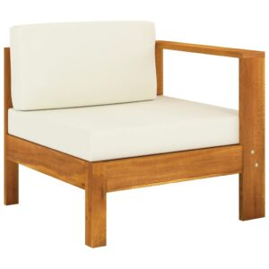 Sofá de centro com 1 apoio de braços acácia maciça branco nata - PORTES GRÁTIS