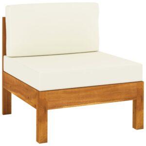 Sofá de centro c/ almofadões branco nata acácia maciça - PORTES GRÁTIS