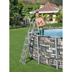 Escada para piscinas com 4 degraus 132 cm - PORTES GRÁTIS