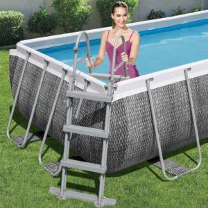 Escada para piscinas com 4 degraus 107 cm - PORTES GRÁTIS