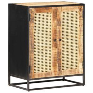 Aparador 60x35x75cm madeira de mangueira áspera e palha natural - PORTES GRÁTIS