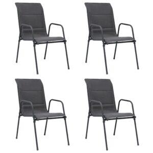Cadeiras de jardim empilháveis 4 pcs aço e textilene antracite - PORTES GRÁTIS