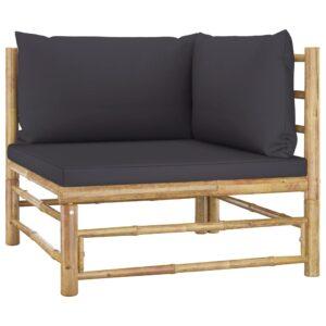 Sofá de canto para jardim com almofadões cinzento-escuro bambu - PORTES GRÁTIS
