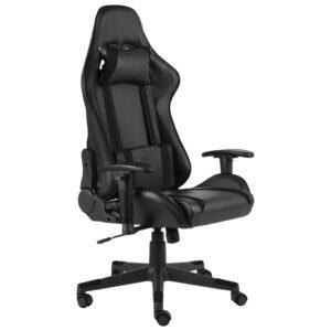 Cadeira de gaming giratória PVC preto - PORTES GRÁTIS