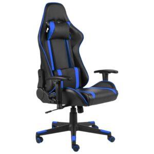 Cadeira de gaming giratória PVC azul - PORTES GRÁTIS