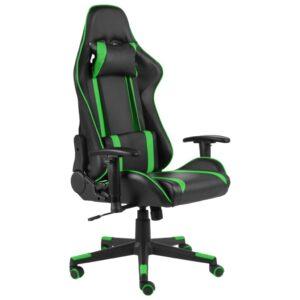 Cadeira de gaming giratória PVC verde - PORTES GRÁTIS