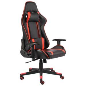 Cadeira de gaming giratória PVC vermelho - PORTES GRÁTIS
