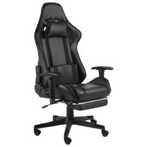 Cadeira de gaming giratória com apoio de pés PVC preto - PORTES GRÁTIS
