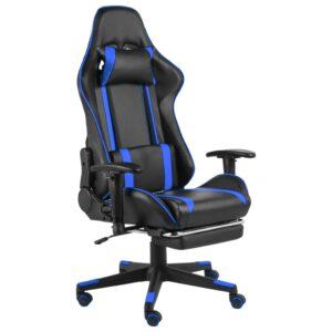 Cadeira de gaming giratória com apoio de pés PVC azul - PORTES GRÁTIS