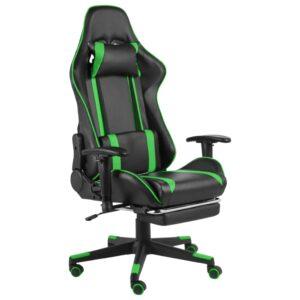 Cadeira de gaming giratória com apoio de pés PVC verde - PORTES GRÁTIS