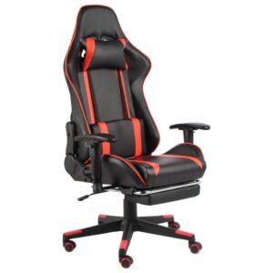 Cadeira de gaming giratória com apoio de pés PVC vermelho - PORTES GRÁTIS