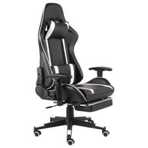Cadeira de gaming giratória com apoio de pés PVC branco - PORTES GRÁTIS