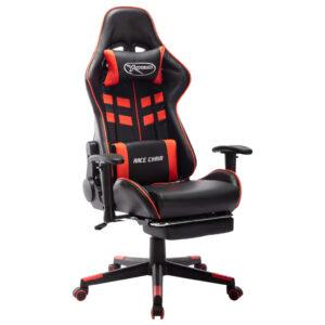 Cadeira gaming c/ apoio de pés couro artificial preto/vermelho - PORTES GRÁTIS