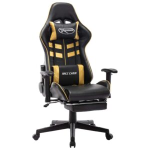 Cadeira gaming c/ apoio de pés couro artificial preto/dourado - PORTES GRÁTIS