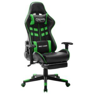 Cadeira de gaming c/ apoio de pés couro artificial preto/verde - PORTES GRÁTIS