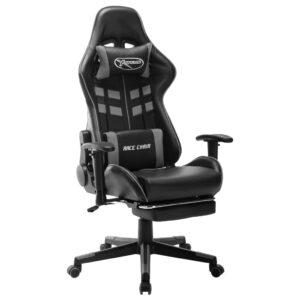 Cadeira gaming c/ apoio de pés couro artificial preto/cinzento - PORTES GRÁTIS