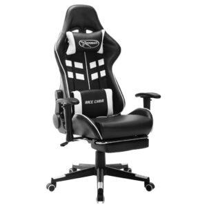 Cadeira de gaming c/ apoio de pés couro artificial preto/branco - PORTES GRÁTIS
