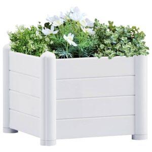 Canteiro elevado para jardim PP 43x43x35 cm branco - PORTES GRÁTIS