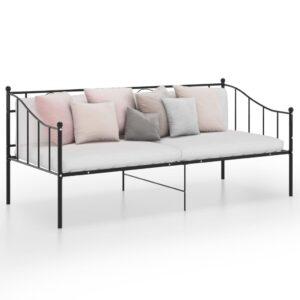 Sofá-cama 90x200 cm metal preto - PORTES GRÁTIS