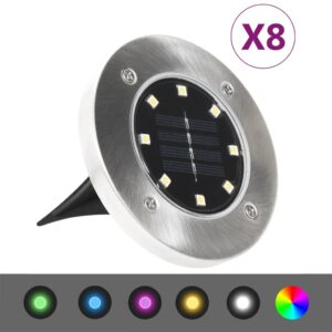 8 x Luzes LED Solar para o Exterior cor RGB - PORTES GRÁTIS