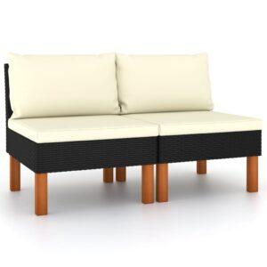 Sofás de centro 2 pcs vime PE e madeira de eucalipto maciça - PORTES GRÁTIS