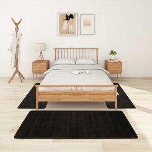 Tapetes de quarto shaggy pelo alto 3 pcs preto - PORTES GRÁTIS 100 x 200 cm - 70 x 140 cm