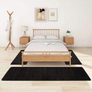 Tapetes de quarto shaggy pelo alto 3 pcs preto - PORTES GRÁTIS - 70 x 250 cm + 60 x 100 cm