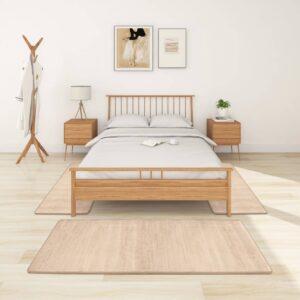 Tapetes de quarto shaggy pelo alto 3 pcs bege - PORTES GRÁTIS - 100 x 200 cm + 70 x 140 cm