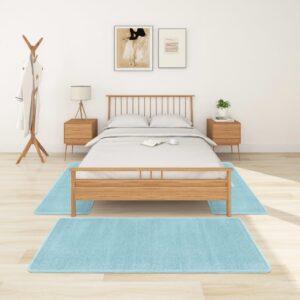 Tapetes de quarto shaggy pelo alto 3 pcs turquesa - PORTES GRÁTIS - 100 x 200 cm - 70 x 140 cm
