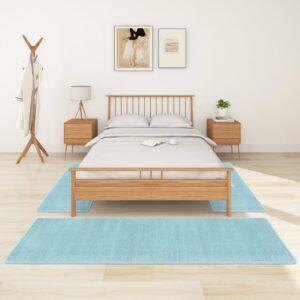 Tapetes de quarto shaggy pelo alto 3 pcs turquesa - PORTES GRÁTIS - 70 x 250 cm + 60 x 100 cm