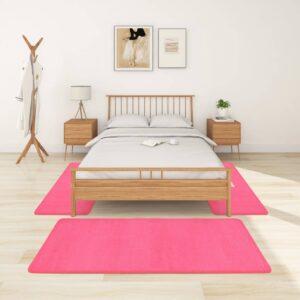 Tapetes de quarto shaggy pelo alto 3 pcs rosa - PORTES GRÁTIS - 100 x 200 cm-  70 x 140 cm