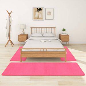 Tapetes de quarto shaggy pelo alto 3 pcs rosa - PORTES GRÁTIS - 70 x 250 cm - 60 x 100 cm